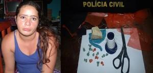 Flagrada com drogas e material usado na embalagem