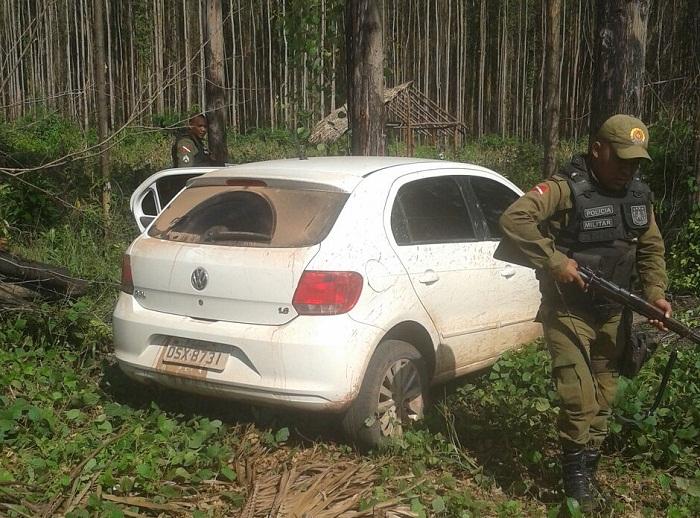 Veículo abandonado pelos assaltantes no lado paraense