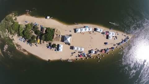 Vista aérea de uma das praias de Xambioá