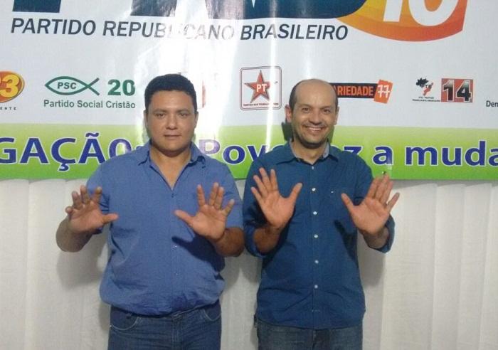 Vanderlei Arruda, candidato a vice e Professor Júlio, candidato a prefeito